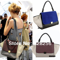 Bag 2013 Women's Messenger PU Leather Handbag Purses Fashion Trapeze Smiley Patchwork Shoulder Bag Designers Brand Dual-use set