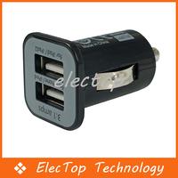Free Shipping Mini Universal Dual USB Car Charger Adapter Bullet 5V 2.1A + 1A Black 100pcs/lot Wholesale
