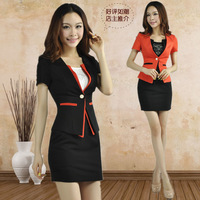 2013 Women's Summer Autumn Work Wear OL Sets Uniform Short-Sleeve Outerwear Female Clothes Professional Skirt Suit Plus Size XXL