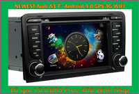 DHL Free shipping 2013 New 7'' Android 4.0 1G CPU 1G DDR3 Car DVD Player For Audi A3 Can Bus GPS dongle 4GB Map 3G WIFI 3D Menu