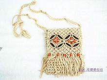 De Freeshipping Mulheres Lady Handbag Handmade malha borla recorte padrão decorativo mini-saco sacos messenger bag tendência nacional(China (Mainland))