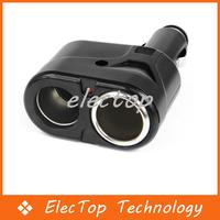 Free Shipping Dual 2 Socket Splitter DC Power Charger Adapter Auto Car Cigarette Lighter 12V 100pcs/lot Wholesale