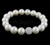 Free shipping!!!South Sea Shell Bracelets,2013 fashion free shipping, with Rhinestone Clay Pave Bead, white, 10mm