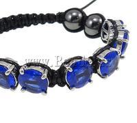 Free shipping!!!Zinc Alloy Shamballa Bracelets,tibetan, with Wax & Non magnetic Hematite & Glass, black, nickel