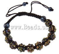 Free shipping!!!Resin Shamballa Bracelets,european style, with Nylon Cord & Non magnetic Hematite & Resin Rhinestone, woven