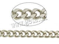 Free shipping!!!Brass Curb Chain,korean, platinum color plated, nickel, lead & cadmium free, 4x3.50x1mm, Length:100 m