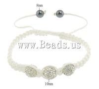 Free shipping!!!Rhinestone Shamballa Bracelets,Wedding Jewelry, Rhinestone Clay Pave, with Nylon Cord & Non magnetic Hematite