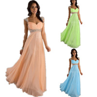 Long Evening Dress 2014 New Arrive In Stock  Party Dress Evening Elegant Chiffon Party Dresses V-neck Evening Dresses