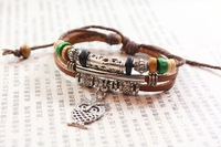 High Fashion Multilayer Owl Wooden Beads Genuine Cowhide Leather Charms Bracelet For Women Free Shipping HeHuanSLQ107