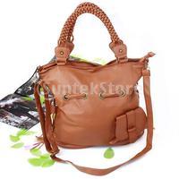 Free Shipping PU Leather Handbag Tote Shoulder Bag w/ Tassels for Women - Camel