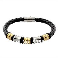 Fashion Simple Steel Braided Leather Bangle Bracelet  Wholesale Men Jewelry Free Shipping