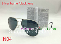 1pcs/Lot Hot Style Silver Frame black lens Sunglasses 62mm Uniex Outdoor Cycling Sun Glasses Come With Box