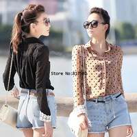 2 Color Black/ Dark Pink and 2 Size New Women Career Charming Dots Chiffon Blouse Long Sleeve Shirt 7658