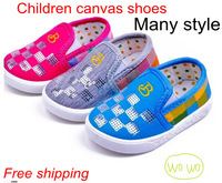 Promotion! Spring and autumn Children striped canvas shoes kids boys and girls shoes soft slip-resistant sneakers