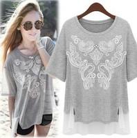 Women Summer Short-sleeve O-neck 100% Cotton Jersey T-shirt Basic T Shirts Oversize Tees Paisley Prints Beads Chiffon Patchwork