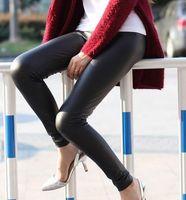 Free Shipping Woman's Leather Pants Faux Leather Slim Waist Legging High Waist Trousers  Plus Size XS-L 15 Colors PT-054