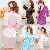 Female Sexy Temptation Women Dress V-neck Bathrobe Rayon Silk Sleepwear Pajamas Nightdress Robes kimono is woman soft lingerie