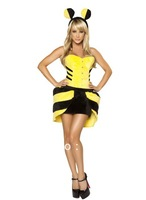 Role Playing Yellow Bee Dress Sexy Holloween Costume Animal Insect Cosplay Strapless US Europe Popular Festival New Year