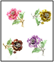 Wholesale Fashion Flower Shape Cheap Alloy Brooch Pins Wedding Brooches For Bouquets 40mm 12pcs Free Shipping HC050