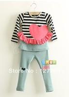 2013 New Grls Clothing Set Long-sleeves Stripe T-shirt +Leggings 2 pcs Set 2Colors Free Shipping