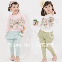 2013 New Arrival Girls Clothing Set Long-sleeves T-shirt+Harem Pants 2Pcs Set Casual Kids Wearing 2 Colors Free Shipping
