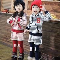 2013 Unisex Clothing Set Hoodies+Legginds With Short 2pcs Clothing Set Baby boys gorls Stripe Sweather 2 Colors Free Shipping