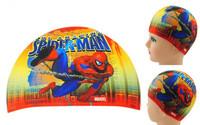 New 2014 cheap spider  person  Hot Lycra Swim caps for kids Children swimming cap digital cute cartoon baby bathing cap