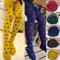 Free Shipping 1pair Children Pantyhose Candy Polka Dot Kids Leggings Children Long Sock Primer Sock Stockings Size S M L, CL0449