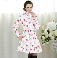 2013 Autumn Elegant Ladies Print Rose Flower Windbreaker Plus Size Stand Collar Slim White Cotton Trench Coat Bow Sashes Tops