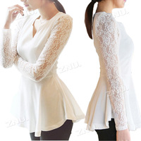 Slim Women's Flared Chiffon Shirts Lace Sleeve Blouse Tops Size S M L XL XXL