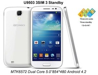 "New Arrival Tri SIM I9500 S4 3G Cell Phones MTK6572 Dual Core Phone 5.0""854*480 Android 4.2 Smartphone DHL EMS Shipping"