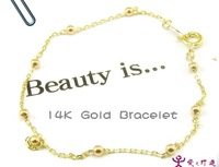 pure 14k yellow glod women bracelet  calabash chain with 5 rounds fashion jewelry bracelet  europen style  gift  free shipping