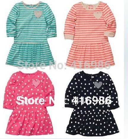 2013 100%  cotton female child dress 3/4 sleeve jersy dress girls carters princess dress  2t-6x  spring autumn