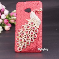 New 2013 Luxury 3D Peacock Bling Diamond Case For HTC ONE M7