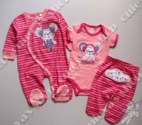6pcs/lot (3-12M) Infant Baby Girls Rompers TempAlert 3 Pieces set Pink Stripe Embroidery Outfit Free Shipping