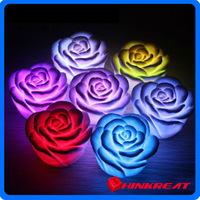 Chirstmas Gift Romantic 7 Color Changing LED Lamp Rose Flower Candle Light Room Decoration Light Free Shipping