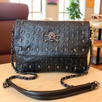 2014 women's handbag fashion punk skull bag chain small shoulder bags
