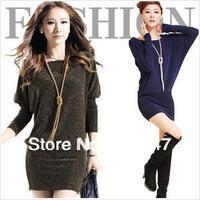 2014 NEW HOT  Spring Autumn OL Slim Hip basic shirt  Big Size Long Sleeve Highlights Decoration Sexy Fashion one-piece Dress