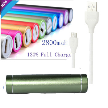 2800mAh Cylindrical External Battery Pack Lipstick Charger / Portable Power Bank for Motorola Moto X Droid Mini Maxx Ultra-Green