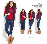 2014 The new fashion Women Autumn Winter hoodies suit , Warm leisure sports Hoodie (hoody,panty,vest),M-XL, Free shipping