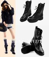 Hot selling Drop Shipping!Top Quality 2013 New PU Leather Cool Black women motorcycle boots winter military ankle boots EU 35-40
