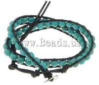 Free shipping!!!Wrap Bracelet,Exquisite, Natural Turquoise, with Leather, brass clasp, 2-strand, 9mm, 6mm, Length:13-16 Inch