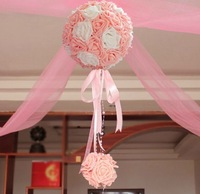 Rose flower balls real touch rose flowers for wedding decoration artificial flower  big ball+ small balls + yarn + sky hooks