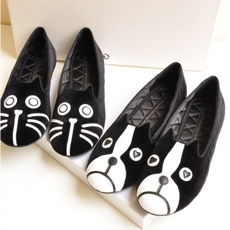 FREE SHIPPING 2013 shoes mj personality the cat dog velvet flat comfortable flats shoes