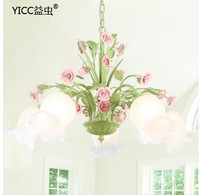 Japanese and Korean romantic rustic wrought iron garden flowers and restaurant dining room bedroom decor chandelier 5250