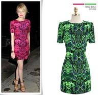 2014 New Arrival Summer European Style OL Elegant Totem Pattern Prom Bandage Dress  Y/636