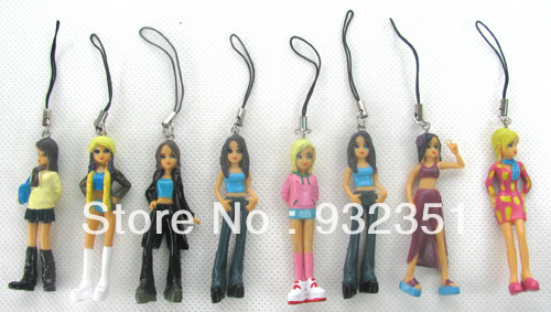 New Lot 100 pcs Polly Pockets girl/lady/female Doll figures mobile phone Strap Charms(China (Mainland))