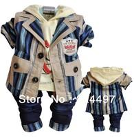 New arrival Clothing SetsTerms wide leisure suit cotton 1SET  3Pcs coat+T-shirt+pants Baby Boys Kids Baby Clothing Sets