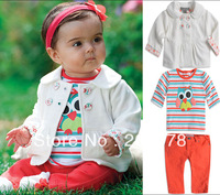 329 Free shipment  girl's clothing suit for spring&autumn outerwear+owl striped T+ red pant
