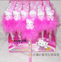 Free shipping 5pcs/lot Hello Kitty Cartoon  feather craft  Pen/ Flash pen light pen  D212 .